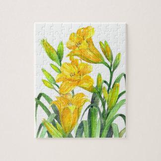 Puzzle Art floral jaune d'hémérocalles d'aquarelle