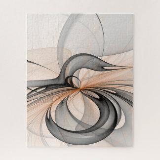 Puzzle Art gris anthracite abstrait de fractale de formes
