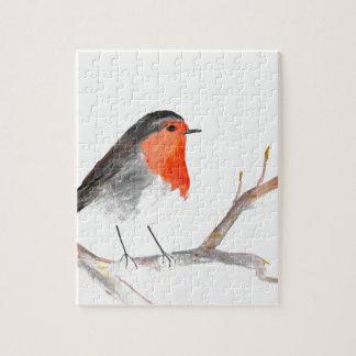 Puzzle Art pour aquarelle de Noël de peinture de Robin