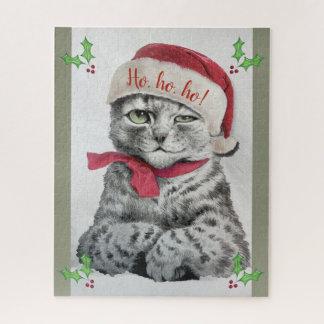 Puzzle Art vintage de chat tigré de Noël de Louis Wain