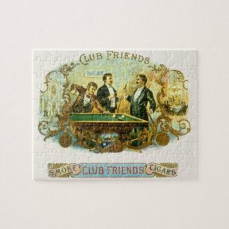 Puzzle Art vintage d'étiquette de cigare, billards d'amis