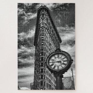 Puzzle Bâtiment et horloge de Flatiron en noir et blanc