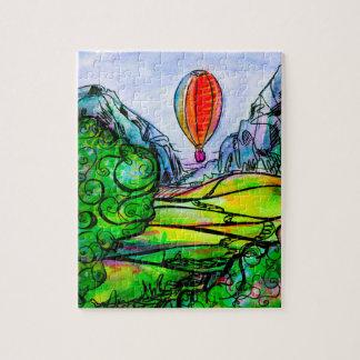 Puzzle Beau paysage de montagne avec un grand ballon