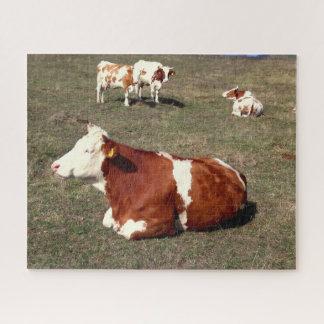 Puzzle Blanc et vaches à Brown