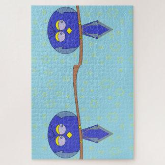 puzzle bleu de deux oiseaux