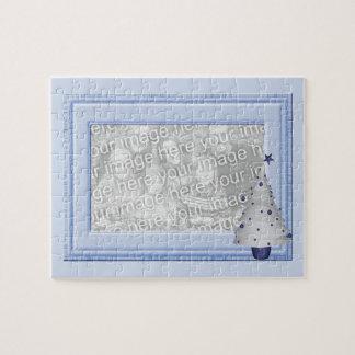 Puzzle bleu d'image de cadre de photo de bébé