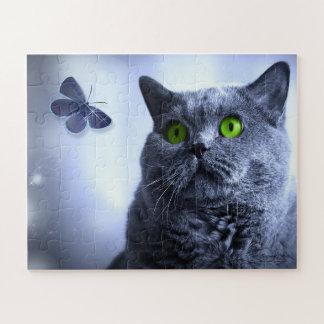Puzzle Bleu et le papillon pour des amoureux de les chats