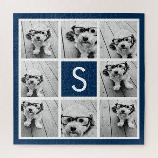 Puzzle Bleu marine fait sur commande de monogramme de