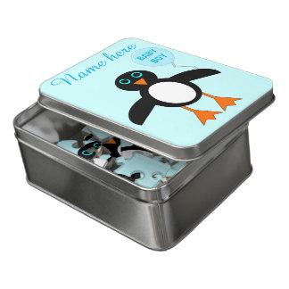Puzzle bleu mignon d'acrylique de pingouin de bébé