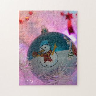 Puzzle Bonhomme de neige - boules de Noël - Joyeux Noël