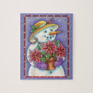 Puzzle Bonhomme de neige mignon de fille de Noël avec la