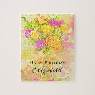 Puzzle Bouquet de fleur d'aquarelle d'anniversaire