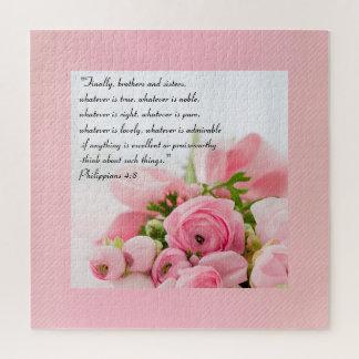 Puzzle Bouquet de rose en pastel de vers de bible de