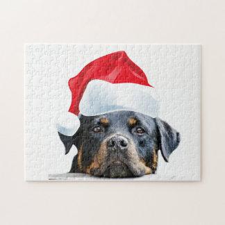 Puzzle Cadeau mignon de Père Noël de chien de rottweiler