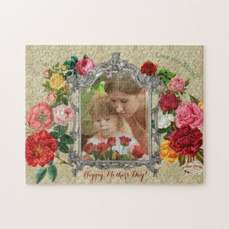 Puzzle Cadre baroque de photo de fantaisie douce de roses