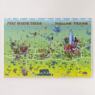 Puzzle Carte de bande dessinée de Dallas Fort Worth