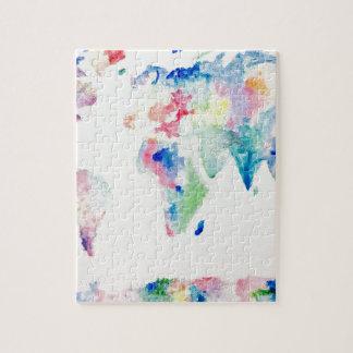 Puzzle carte du monde de couleur d'eau