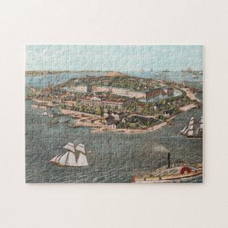 Puzzle Carte imagée vintage de Fort Monroe la Virginie