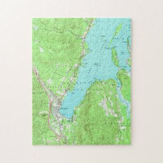 Puzzle Carte vintage de lac George New York (1966)