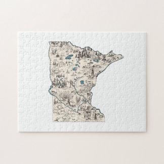 Puzzle Carte vintage d'image du Minnesota