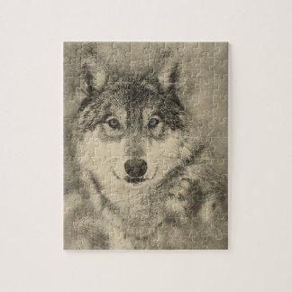 Puzzle Casse-tête renversante de loup de bois de