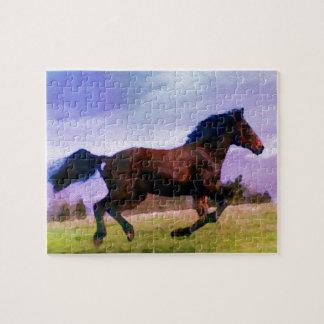 Puzzle Cavalier occidental courant de poulain de poney de