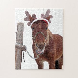 Puzzle Cerfs communs de cheval - cheval de Noël - cheval