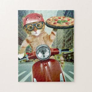 Puzzle chat de pizza - chat - la livraison de pizza