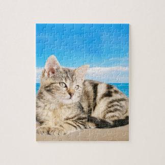 Puzzle Chat se reposant sur la plage tropicale d'île