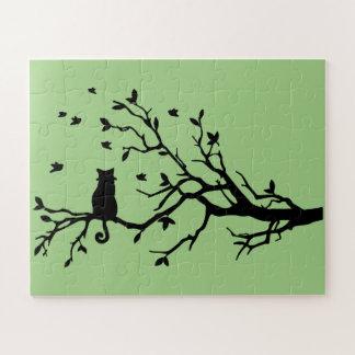 Puzzle Chat sur un arbre - silhouette