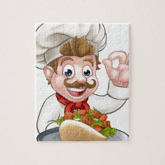 Puzzle Chef de bande dessinée avec le chiche-kebab