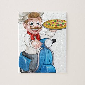 Puzzle Chef de pizza de bande dessinée sur le scooter de
