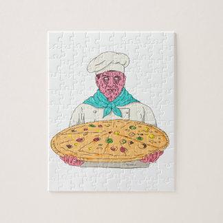 Puzzle Chef de zombi tenant l'art de crasse de tarte de