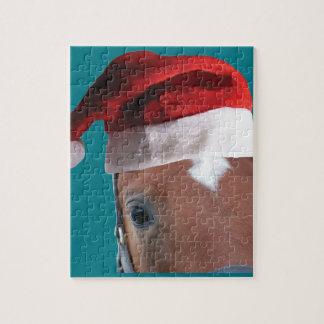 Puzzle Cheval de casquette de Père Noël de Noël