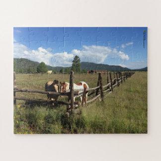 Puzzle Chevaux à la photographie de barrière de rail