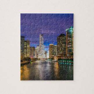 Puzzle Chicago l'Illinois la nuit