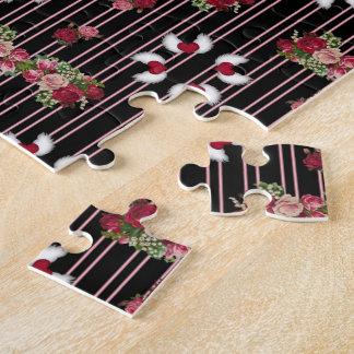 Puzzle Chintz rayé de cru de roses