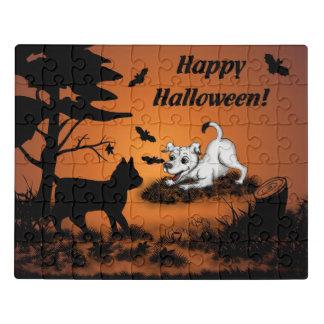 Puzzle Chiot avec le chat noir et la batte, Halloween