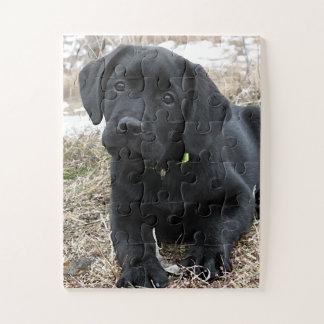 Puzzle Chiot noir de Labrador - attente du ressort