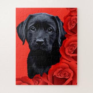 Puzzle Chiot noir de Labrador - roses de Valentine