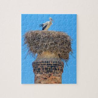 Puzzle Cigogne adulte dans le nid sur chimney.JPG