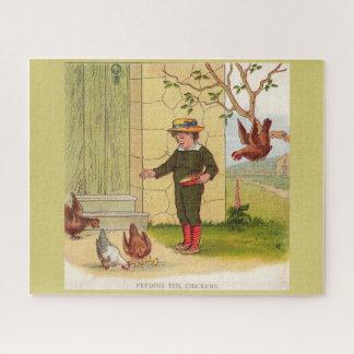 Puzzle circa 1900 alimentant les poulets
