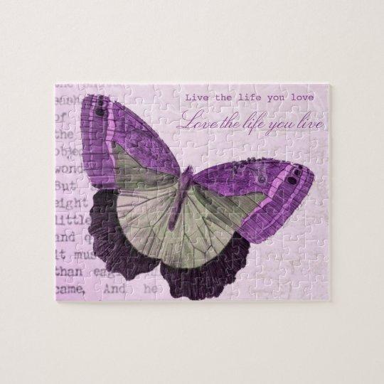 Puzzle Citation inspirée de papillon girly rose vintage