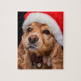 Puzzle Cocker utilisant le casquette de Père Noël
