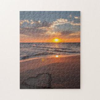 Puzzle Coeur de lever de soleil en sable