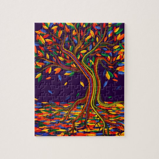 Puzzle Colorful rainbow tree with bright colors