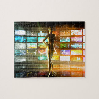 Puzzle Concept de technologies de médias comme mur visuel