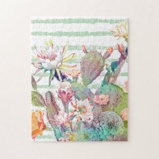 Puzzle Conception de cactus, florale et de rayures