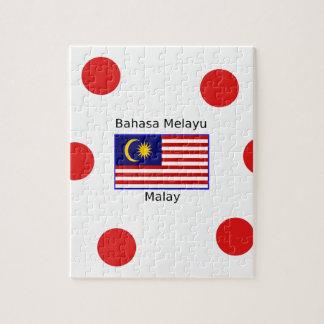 Puzzle Conception de langue de drapeau et de Malais de la