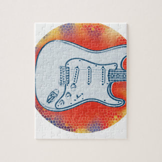 Puzzle Conception rouge et bleue de guitare